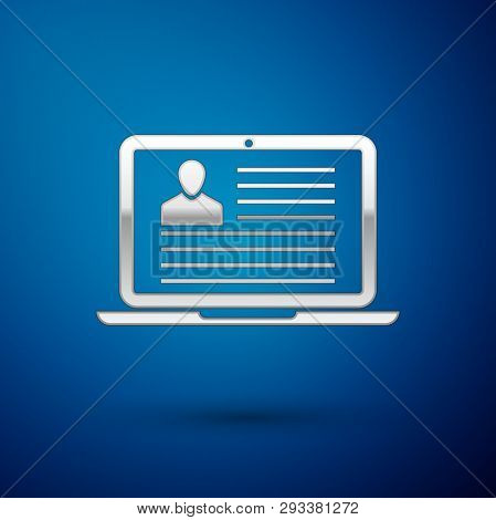 Silver Laptop With Resume Icon Isolated On Blue Background. Cv Application. Searching Professional S