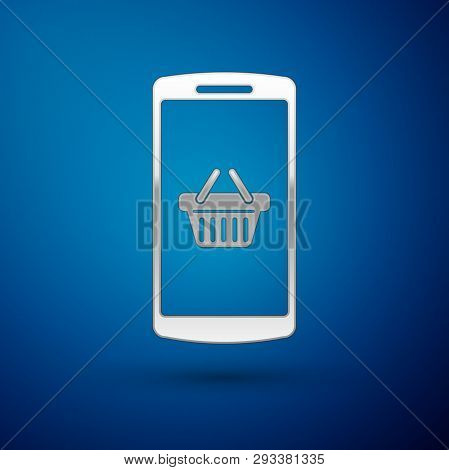 Silver Shopping Basket On Screen Smartphone Icon Isolated On Blue Background. Concept E-commerce, E-