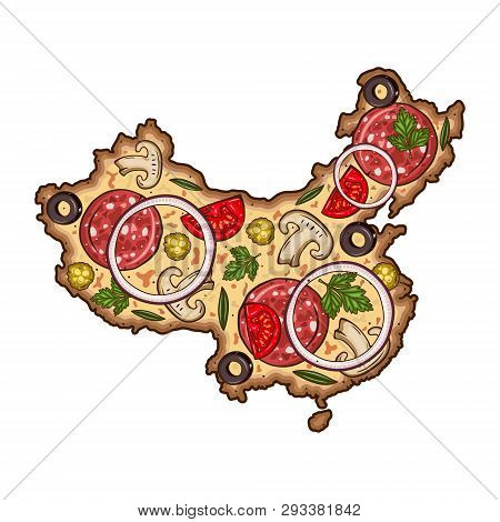 Pizza Form Map China Vector & Photo (Free Trial) | Bigstock on