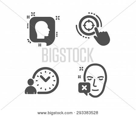 Set Of Seo Target, Head And Time Management Icons. Face Declined Sign. Click Aim, Profile Messages,