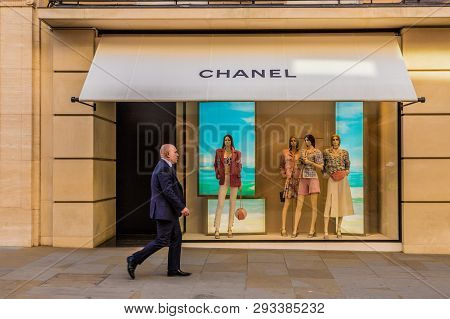 April 2019. London. A View Of The Chanel Store On Bond Street In London