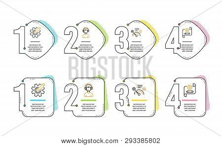 No internet, Consultant and Cogwheel icons simple set. Cogwheel blueprint sign. Bandwidth meter, Call center, Edit settings. Technology set. Infographic timeline. Line no internet icon. Vector poster