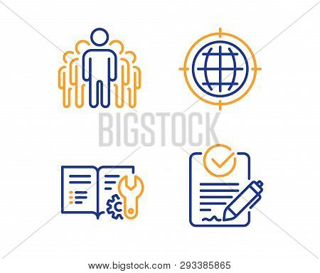 Seo Internet, Group And Engineering Documentation Icons Simple Set. Rfp Sign. Globe, Managers, Manua