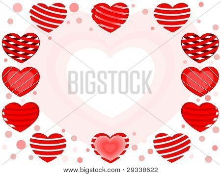 Greeting card with different and decorative heart shapes in red color with copy space for Valentines Day and other occasions.