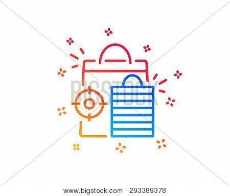 Seo Shopping Bags Line Icon. Search Engine Optimization Sign. Analytics Symbol. Gradient Design Elem
