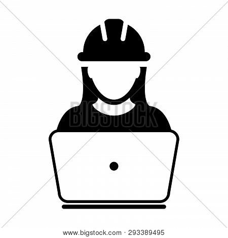 Construction Worker Icon Vector Female Service Person Profile Avatar With Laptop And Hardhat Helmet