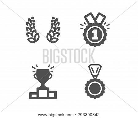 Set Of Winner Podium, Laurel Wreath And Approved Icons. Medal Sign. Competition Results, Laureate Re