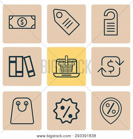 E-commerce Icons Set With Online Shopping, Sales Location, Badge And Other Rebate Sign  Elements. Is