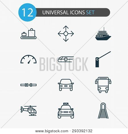 Transport Icons Set With Motorboat, Taxi, Barrier And Other Car Vehicle Elements. Isolated Vector Il