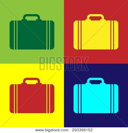 Color Suitcase For Travel Icon Isolated On Color Backgrounds. Traveling Baggage Sign. Travel Luggage