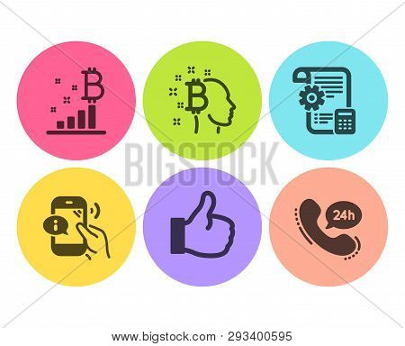 Bitcoin Think, Like And Bitcoin Graph Icons Simple Set. Settings Blueprint, Call Center And 24h Serv