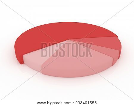 illustration of a red pie chart. 3D