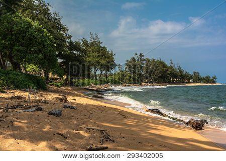 Waipouli Beach In The Coast Along Wailua, Kauai, Hawaii