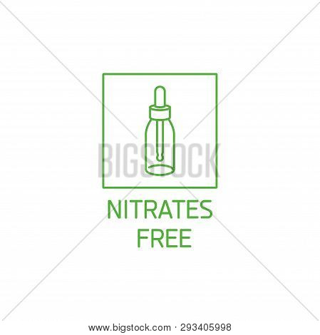Vector Logo, Badge And Icon For Natural And Organic Products. Nitrates Free Sign Design. Symbol Of H