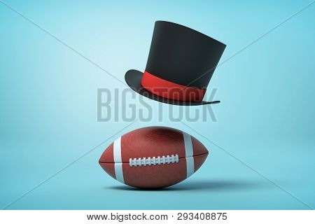 3d Rendering Of A Brown Gridiron Football And A Black Tophat Floating In Air Above The Ball On Light