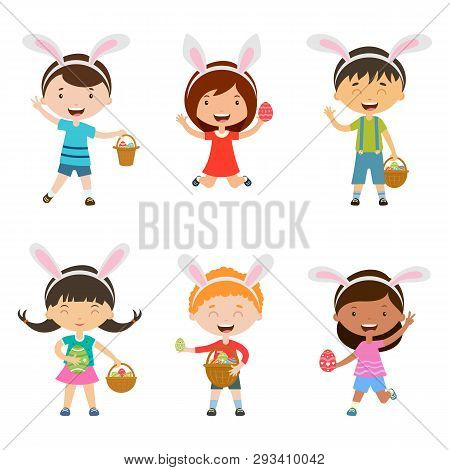 Cartoon Children With Bunny Ears Set. Spring  Cute Children In Easter Costumes With Basket And Egg.