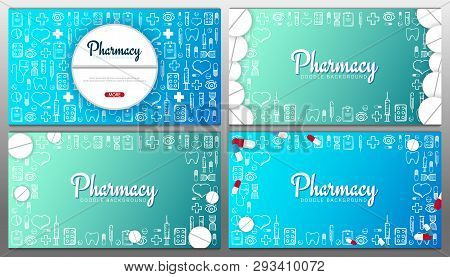 Set Of Pharmacy And Medical Banners With Doodle Background. Pills, Vitamin Tablets, Medical Drug. Ve
