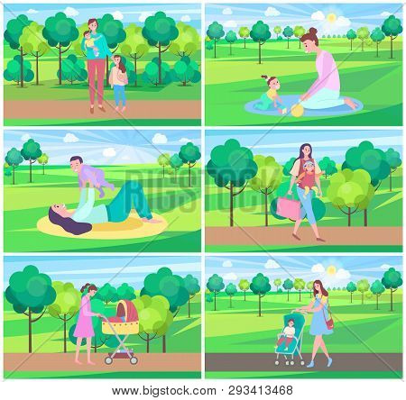 Mother And Kid In Park Vector, Mom Spending Time With Child On Nature, Baby In Perambulator. Care Fo