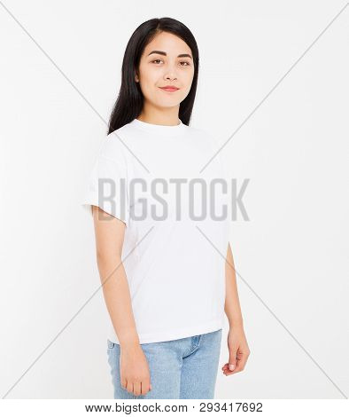Young Korean,asian Brunette Woman In Blank White T-shirt, T Shirt Design And People Concept. Shirts