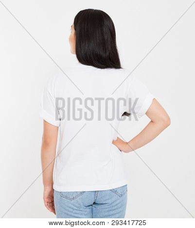Back View Young Korean,asian Brunette Woman In Blank White T-shirt, T Shirt Design And People Concep
