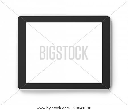 Tablet PC isolated on white,.Square to image dimension, with pure white copyspace blank screen for easy overlay of custom presentation images or messages of your choice.