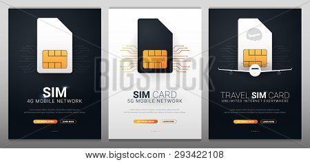 Mobile Sim Card, Esim. Mobile Network. Technology Concept. Vector Illustration.