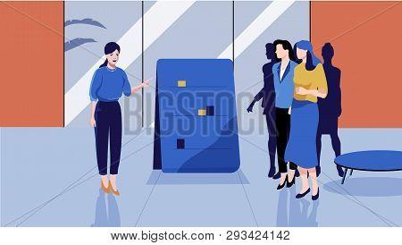 Business Corporate Room Presentation Process Vector Illustration