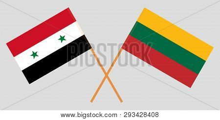 Lithuania And Syria. The Lithuanian And Syrian Flags. Official Colors. Correct Proportion. Vector Il