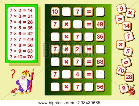 Multiplication Table By 7 For Kids. Find Places For Falling Numbers And Write Them. Educational Page