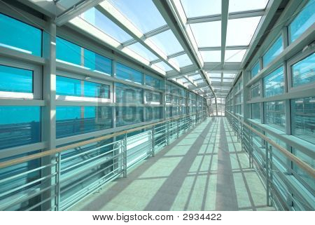 Interior Passage With Glass Surfaces