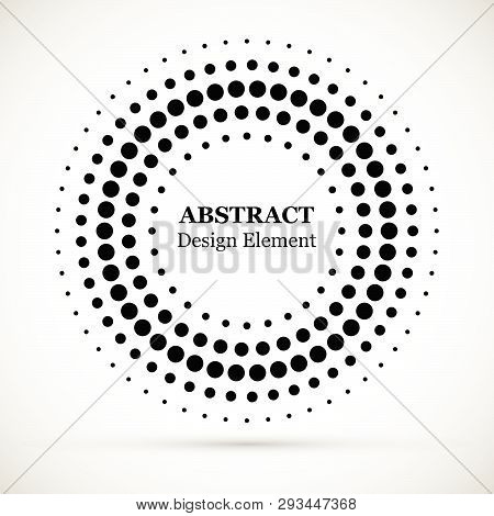 Rounded Border Icon. Isolated Halftone Circle Dots Vector Texture.halftone Dotted Background Circula