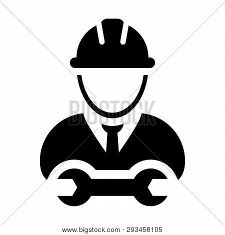 Construction Worker Icon Vector Male Service Person Profile Avatar With Hardhat Helmet And Wrench Or