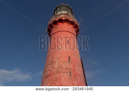 The Kolka Lighthouse Is On An Artificial Island In Six Kilometres From Kolkasrags.