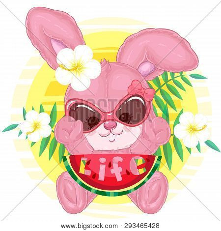 Cute Plush Bunny On Vacation With Watermelon In Sunglasses And Decorative Hibiscus On The Background