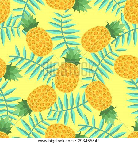 Bright Pattern With Pineapple On A Yellow Background.