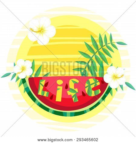 Hawaiian Style Banner For Summer Holidays And Seaside Vacations