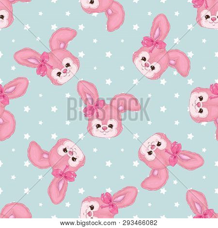 Baby Patter With Cute Bunnies On A Blue Background With Stars