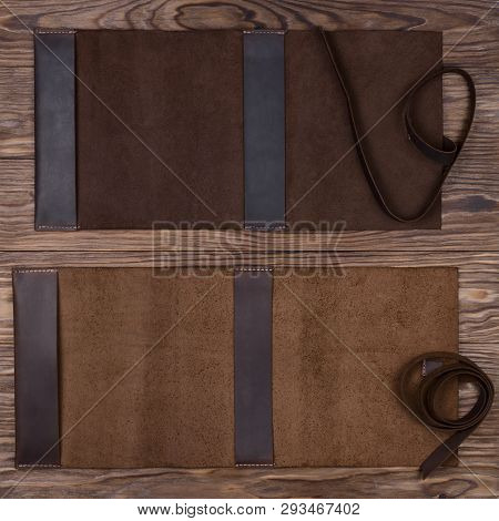 Two Brown Opened Handmade Leather Notebook Covers On Wooden Background. Stock Photo Of Luxury Busine