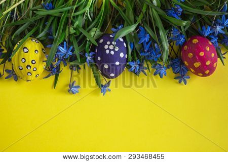 Easter Eggs. Happy Easter. Multi-colored Easter Eggs. Easter. Easter Eggs On A Yellow Background. Ea