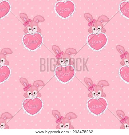 Romantic Patter With Cute Bunnies With Hearts On A Pink Background With Stars