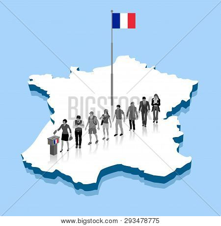 French citizens are voting for election over a France 3D map with flagpole. All the objects, shadows and background are in different layers. poster