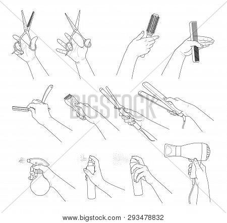 Hand Collection. Hands Holding Hairdresser Tools. Concept Hair Salon, Beauty Salon, Haircut , Stylin