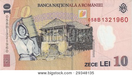 The banknote is 10 leus, the sample in 2005, the flip side.