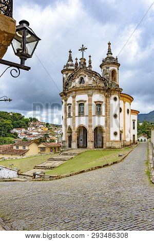 Old Catholic Church Of The 18th Century And Constructions Around Located In The Center Of The Famous