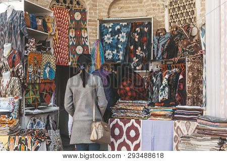 Bukhara, Uzbekistan - March 13, 2019: Outdoor Street Shops Inside Of Nadir Divan-begi Madrasah. Part