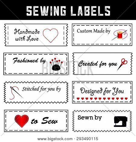 Sewing Labels For Diy Fashion, Tailoring, Couture, Dressmaking, Sewing, Crafts, Handmade With Love.