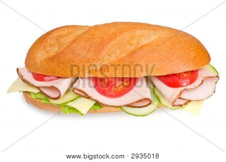 Fresh Turkey Submarine Sandwich Wich Swiss Cheese