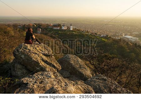 Woman In Nature In Sunset. People In Nature. Beautiful Woman In Mountain Sunset. Beautiful People. H