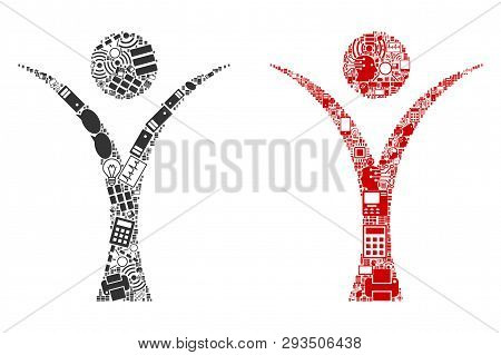 Abstract Man Collage Icons Organized For Bigdata Illustrations. Vector Abstract Man Mosaics Are Orga