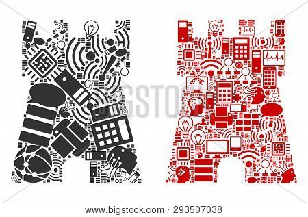 Bulwark Tower Composition Icons Constructed For Bigdata Illustrations. Vector Bulwark Tower Mosaics